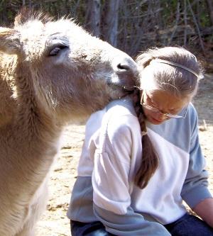 Carlene with a Donkey